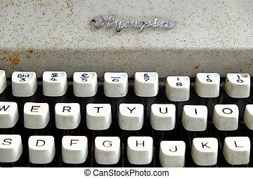 clés, vendange, machine écrire, alphabet