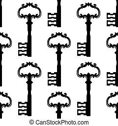clés, vendange, noir, seamless, modèle
