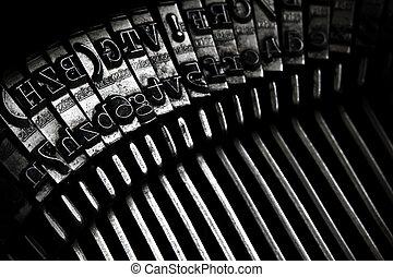 clés, vieux, machine écrire