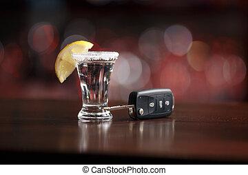 clés, voiture, boisson, sous, alcoolique