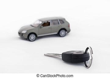clés, voiture, fond