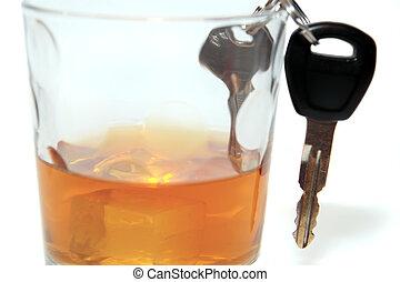 clés, voiture, intérieur, bourbon, verre