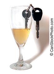 clés, voiture, intérieur, flûte champagne