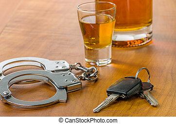 clés, voiture, menottes, verre projectile