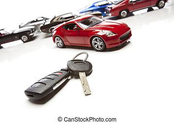 clés, voiture, voitures sport, blanc, plusieurs