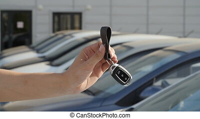 clés, voitures, fond, rang