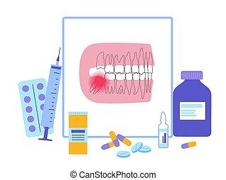 clínica, concepto, dental