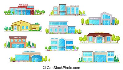 clínica, edificio, dental, veterinario, iconos, medicina