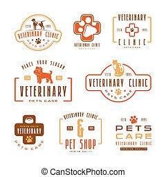 clínica, etiquetas, conjunto, veterinario