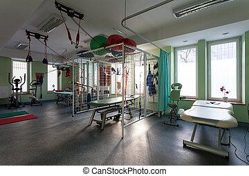 clínica, habitación, fisioterapia, rehabilitación
