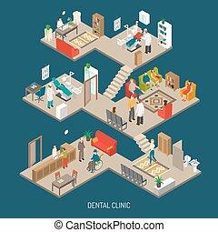 clínica, isométrico, concepto, bandera, dental