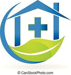 clínica médica, símbolo, natureza, negócio, vetorial, logotipo