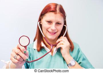 clínica, veterinário, estetoscópio