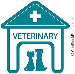 clínica, veterinario, símbolo, hogar