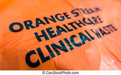 clínico, hospitalar, desperdício, saco