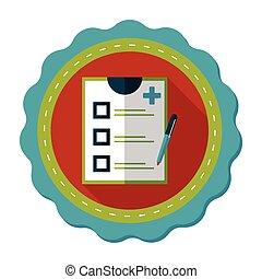 clínico, registro, apartamento, ícone, com, longo, sombra