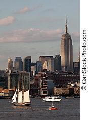 clíper, ciudad, barco, alto