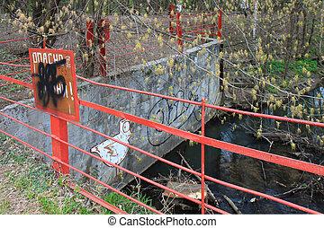 clôturé, piscine, bois, rouges, fence., métal
