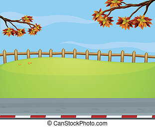 clôture bois, bord route