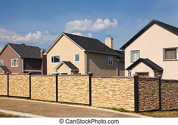 clôture pierre, two-storied, cottages., bas, fond, nouveau,...