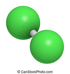(cl2), molecolare, degli elementi della natura, cloro, model.