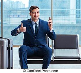 cla, aéroport, business, sien, attente homme affaires, avion