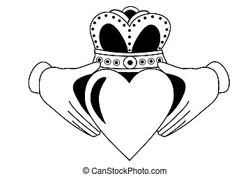 Claddagh tribal tattoo black and white