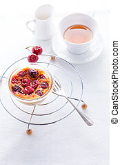 Clafoutis and tea.