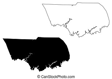 Claiborne County, State of Tennessee (U.S. county, United States of America, USA, U.S., US) map vector illustration, scribble sketch Claiborne map