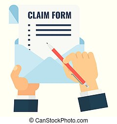 claim form blank - Template of claim form. Flat vector...