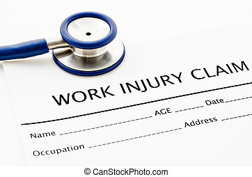 Claim form for an injury with stethoscope.