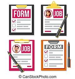 Claim Form Set Vector. Business Document. Checklist, Complete Tasks. Pen. To-Do List. Accident, Survey, Exam, Insurance Concept. Pen. Top view. HR Human Resources Concept. Office Paperwork. Clipboard. Pen. Hiring Employees. Flat Cartoon Illustration