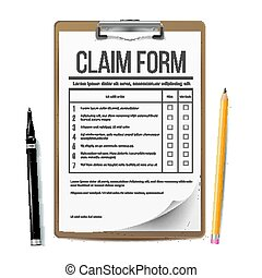 Claim Form Vector. Business Document. Accident Snd insurance Concept. Realistic Illustration