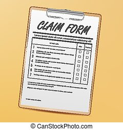 Claim Form Vector. Medical, Office Paperwork. Clipboard. Realistic Illustration