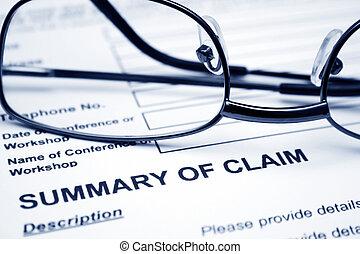 claim, resumé