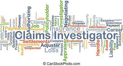 claims, concept, fond, détective