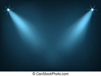 clair, éclairé, lumières, étape