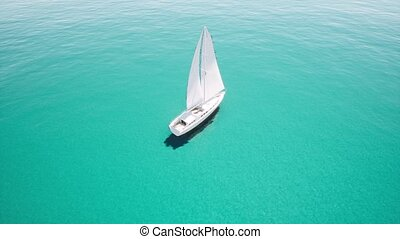 clair, aérien, ouvert, voile, vue, yacht, océan bleu