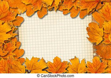 clair, baissé, feuilles automne, sur, les, vieux, papier, fond
