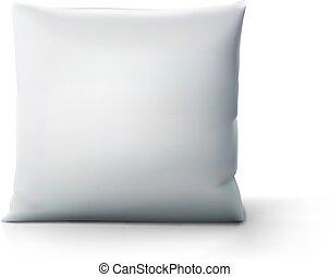 clair, carrée, ombre, oreiller, blanc