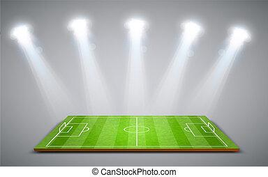 clair, champ football, vert, football, ou