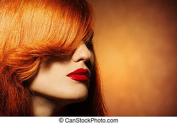 clair, cheveux, beauté, portrait., sain