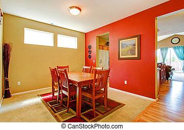 clair, contraste, salle manger, intérieur