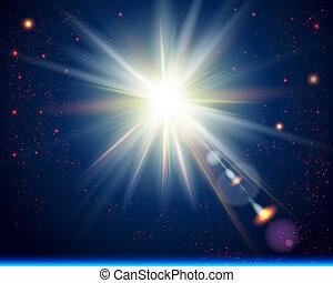 clair, cosmique, burst., soleil, arrière-plan.
