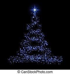 clair, design., bleu, arrière-plan., éclat, carte, nouveau, vacances, noël, heureux, étoile, symbole, illustration, année, joyeux, celebration., lumière, decoration., arbre, vecteur, 3d, brillant