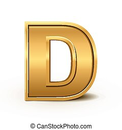 clair, doré, lettre, d, 3d