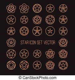 clair, ensemble, étoile, icône
