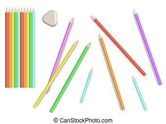 clair, ensemble, coloré, illustration., pencils., vecteur, isolé