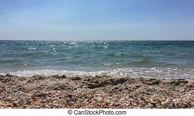 clair, ensoleillé, rivage, mer, vagues, jour, vue