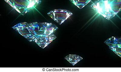 clair, fait boucle, animation., diamants